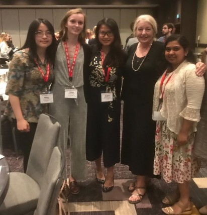 Lab members, Grace D, Claire P, Brigitta Y, and Shijina M with Dr. Annie Donoghue, one of my mentors and a PSA Fellow.