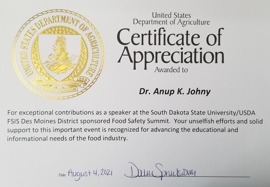 USDA certificate